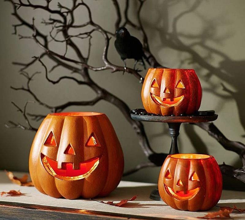 Jack-o-lantern luminaries from Pottery Barn is an idea you can easily recreate