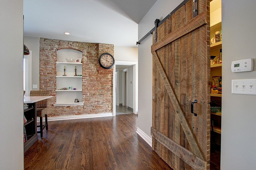 Large barn styled door in wood for the farmhouse pantry