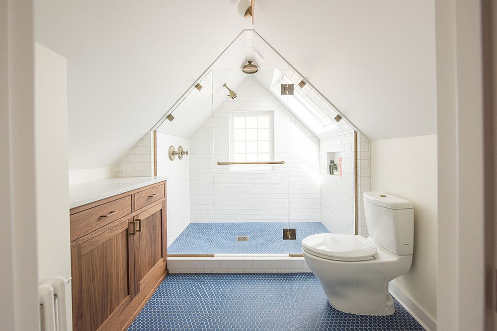 Light-filled transitional bathroom in white with blue penny-tiled flooring