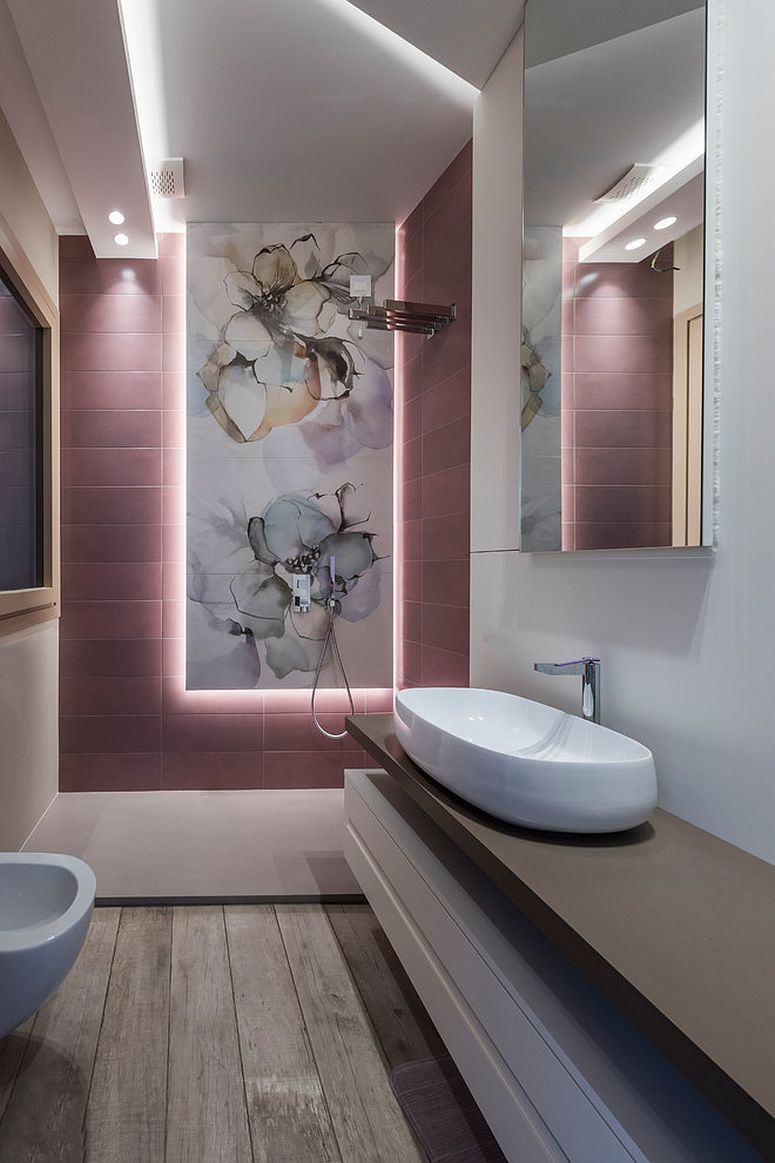 Lighting steals the show inside this bathroom