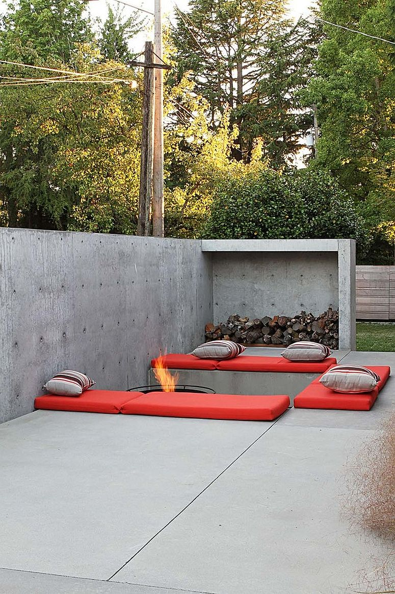 Minimal take on the fire pit and the seating around it