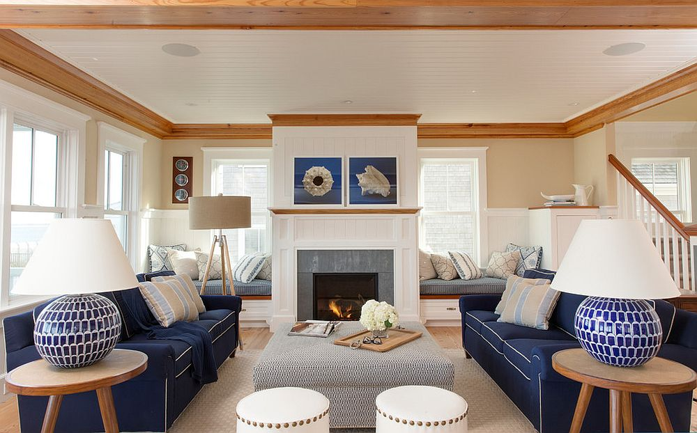 Navy blue sofa with white piping is perfect for the beach style living room