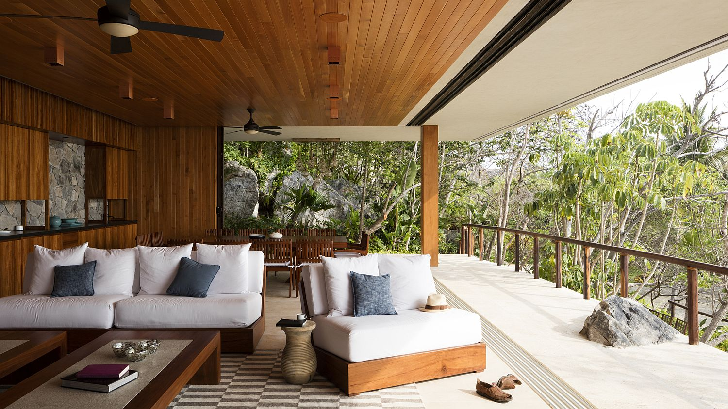 Open pavilion style living area with a view of the gorgeous landscape and ocean