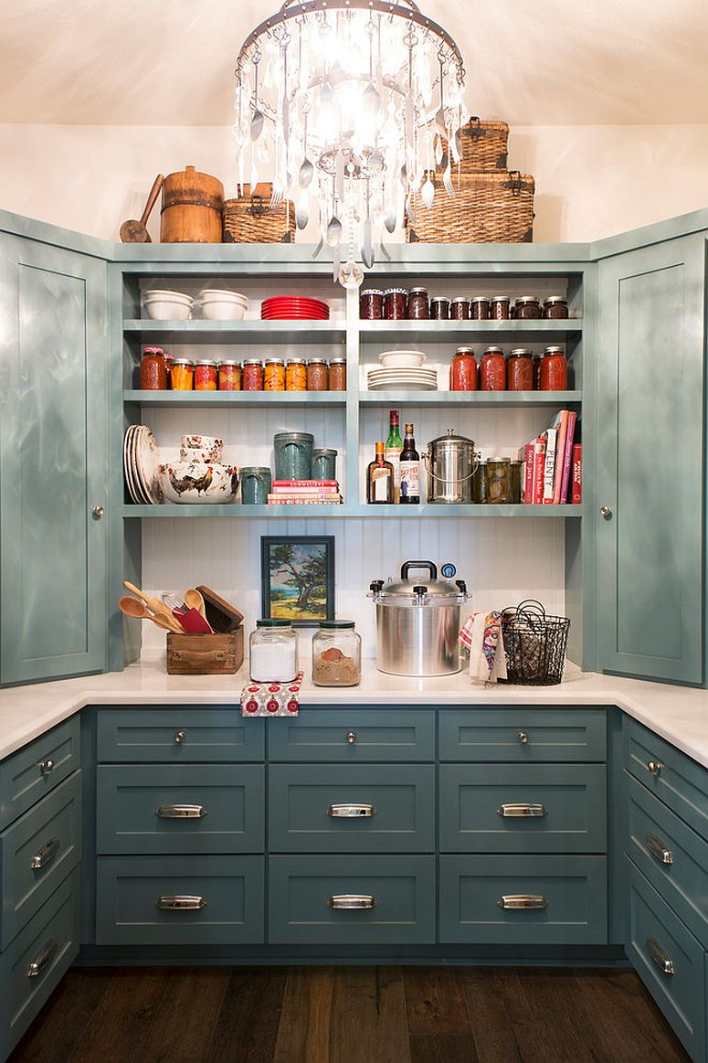 open shelved pantry with gray-green cupboards