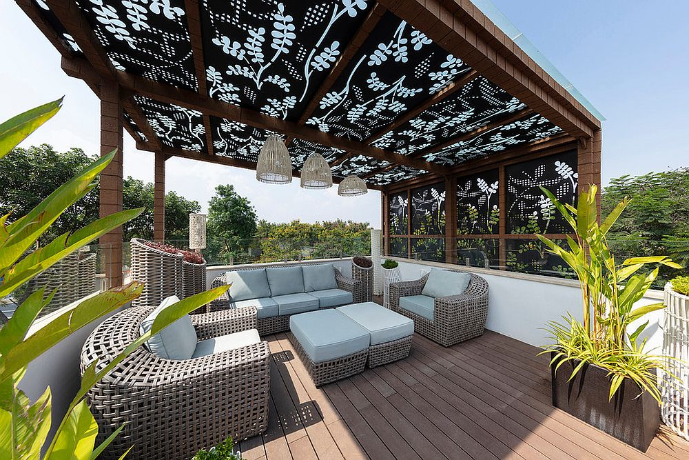 Perforated panels with pattern for the spacious outdoor deck