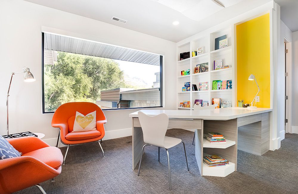 Pops of yellow and orange enliven this kids' homework zone