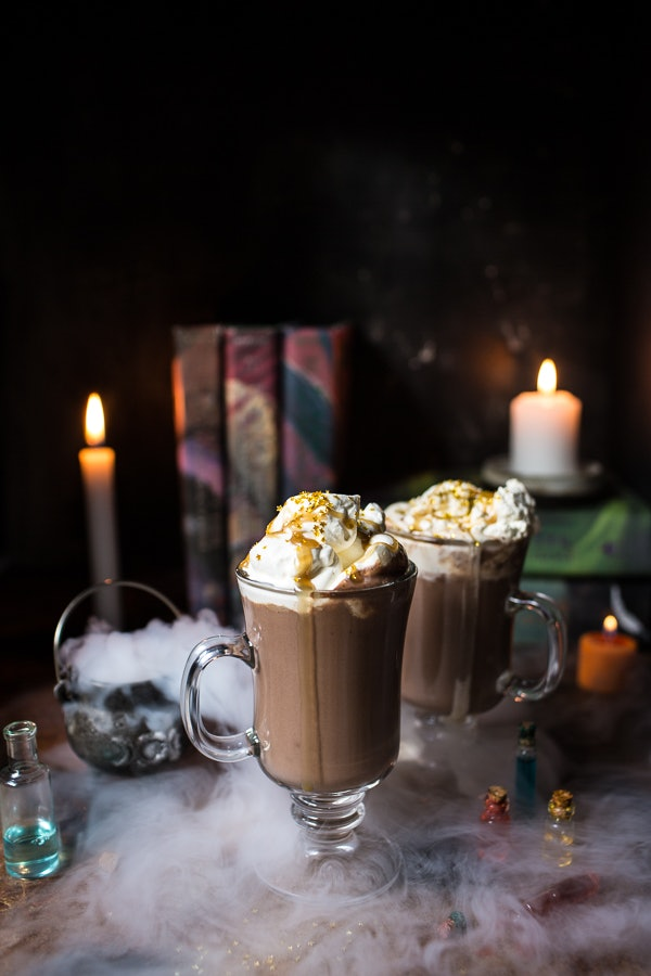 Pumpkin butterbeer hot chocolate recipe with Halloween twist