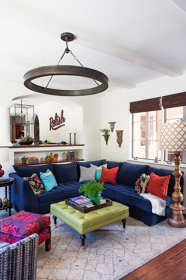 Sectional in navy blue anchors this open plan living area