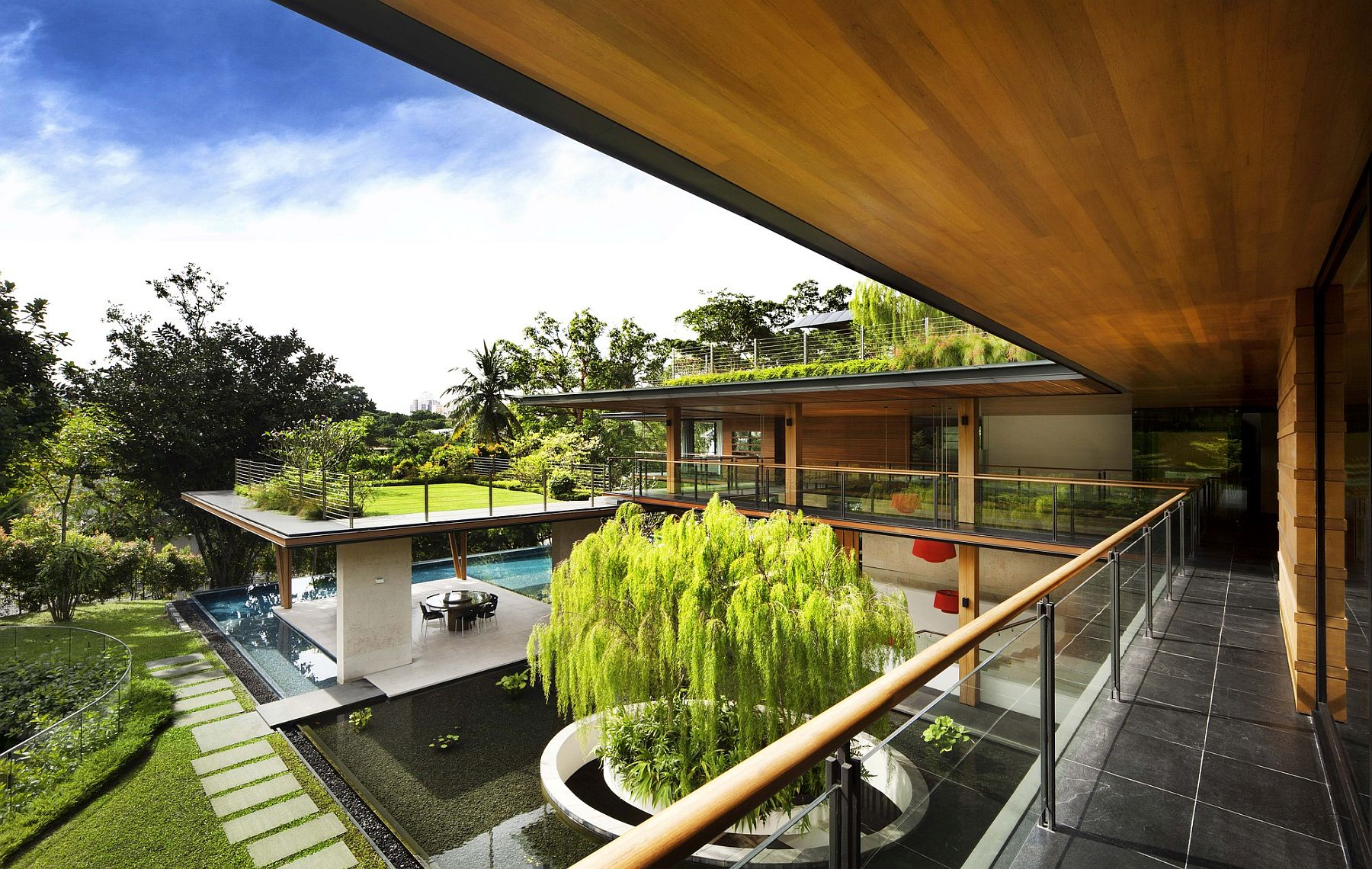 Series of roof gardens and ponds around the Ficus House