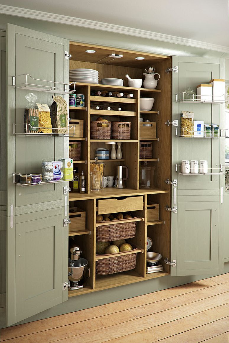 Simple wiry shelves turn even pantry doors into storage opportunity