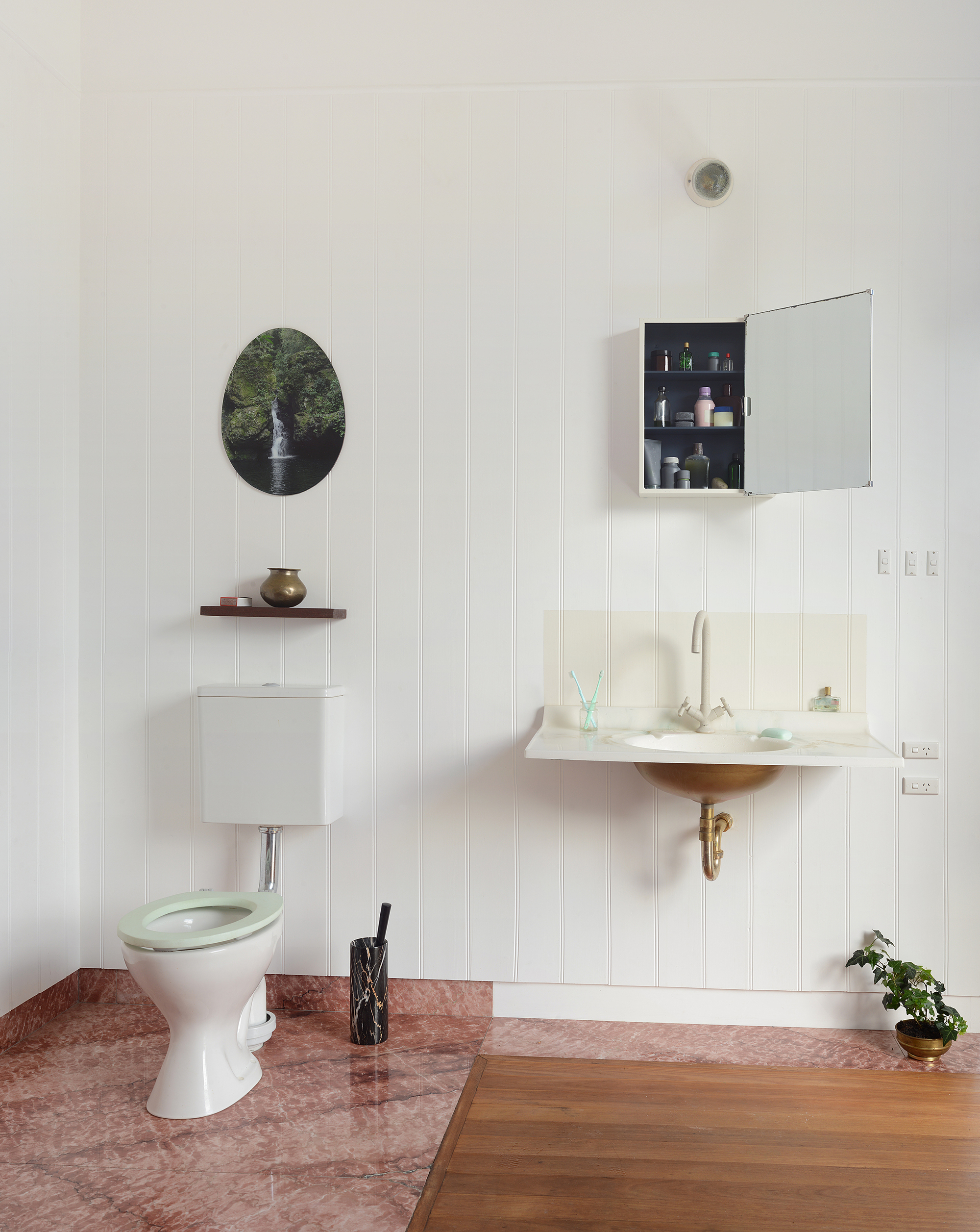 Smart design of toilet with a splash of color