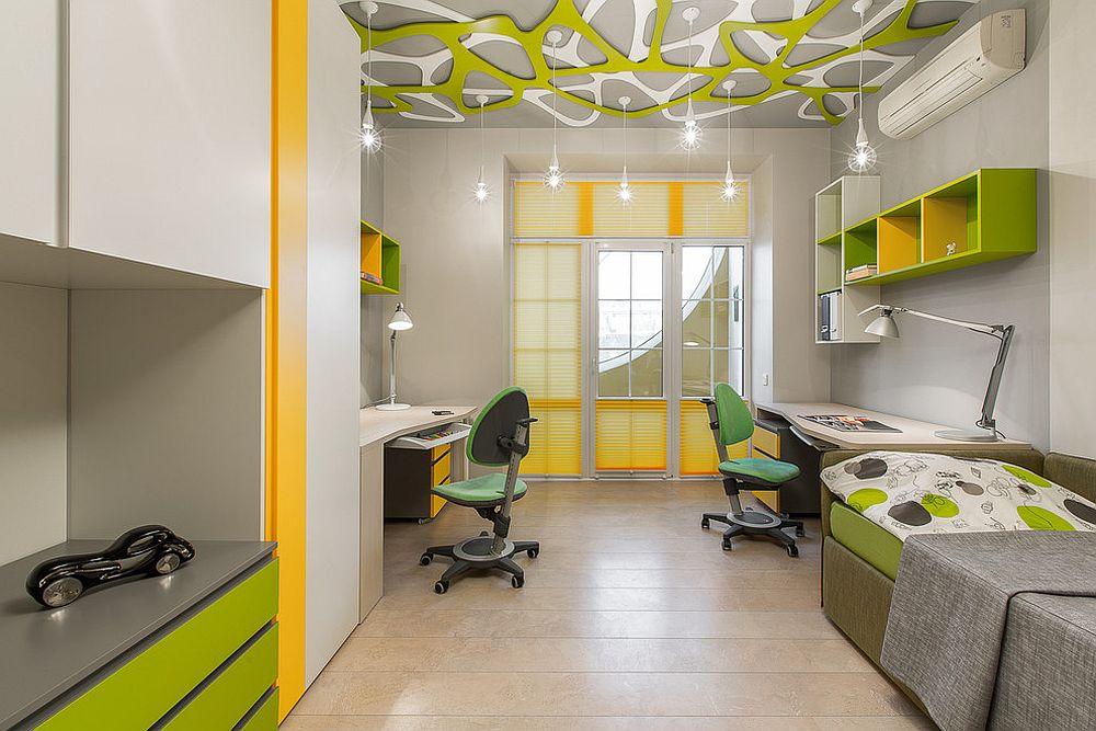 Smart homework zones on opposite sides in the shared kids' room
