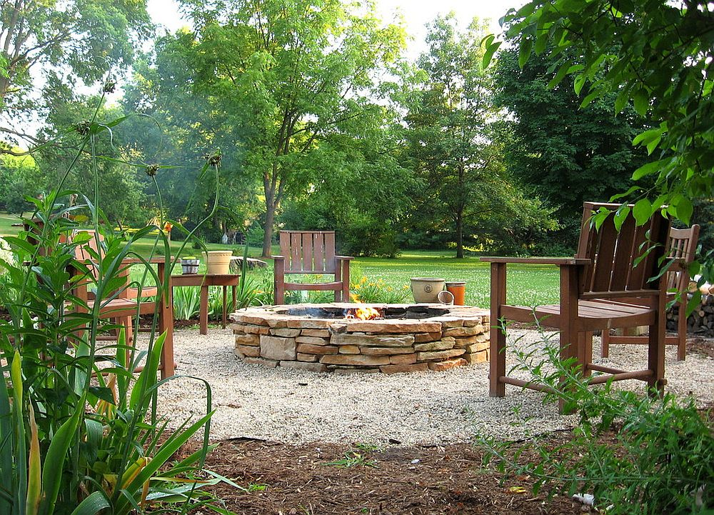Stacked stone fire pit is a classic that never fails!