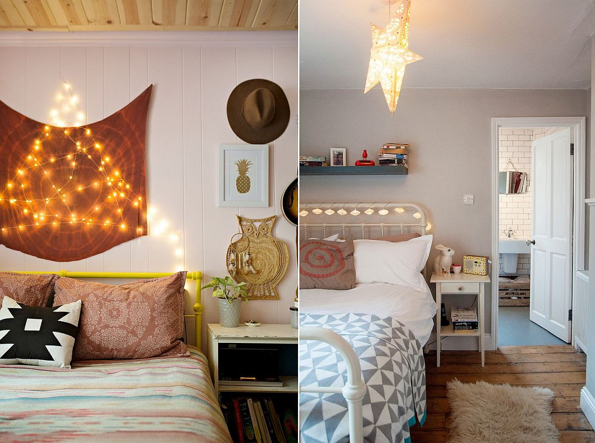 String lights for eclectic bedrooms