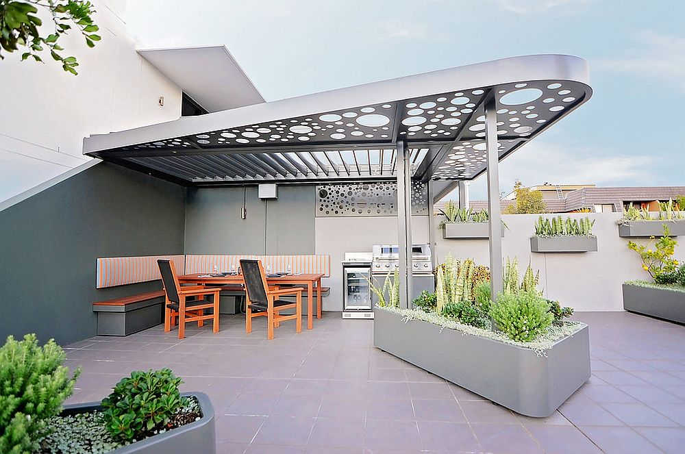 Stunning custom metal pergola for the dashing contemporary deck