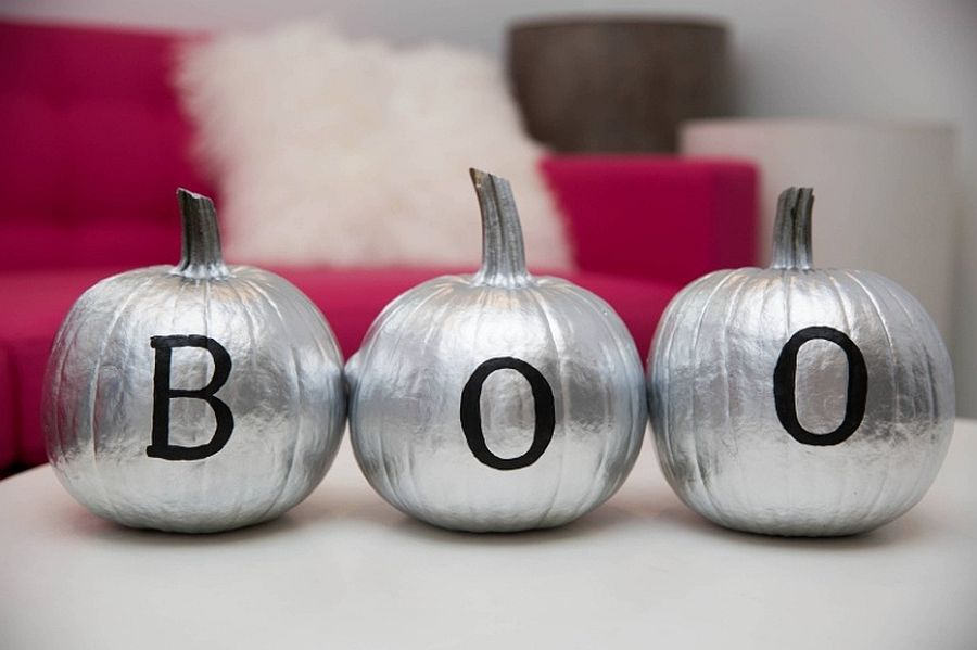 Style coupled with Halloween charm with silver painted DIY pumpkins that say Boo