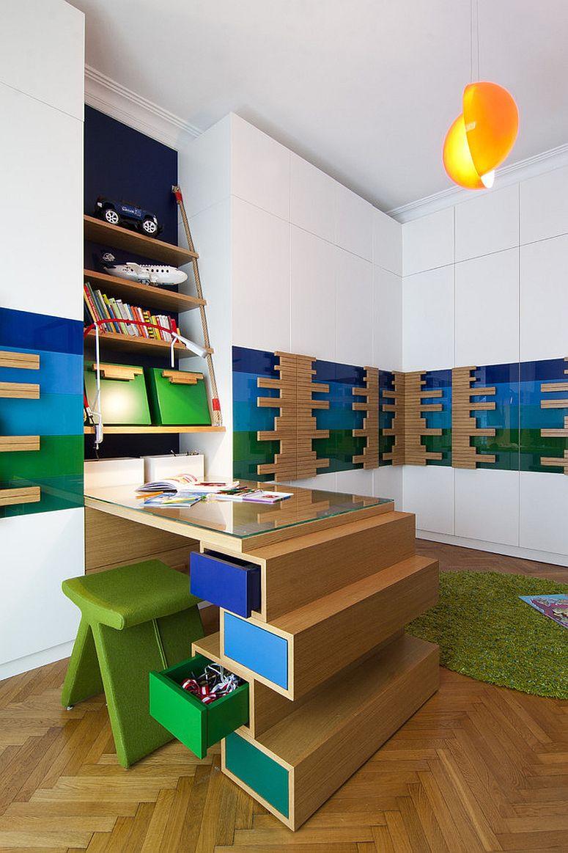 Super fun kids' study area embraces colorful minimalism
