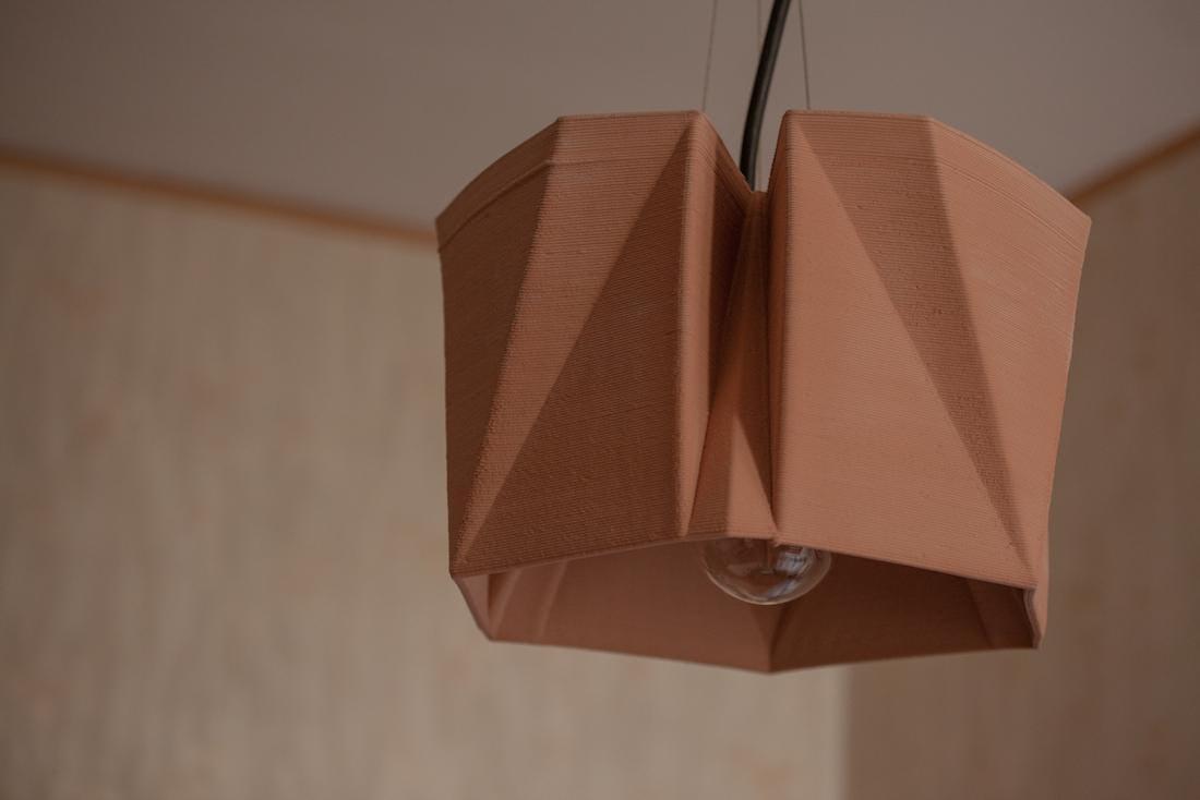 Terracotta suspension lamp