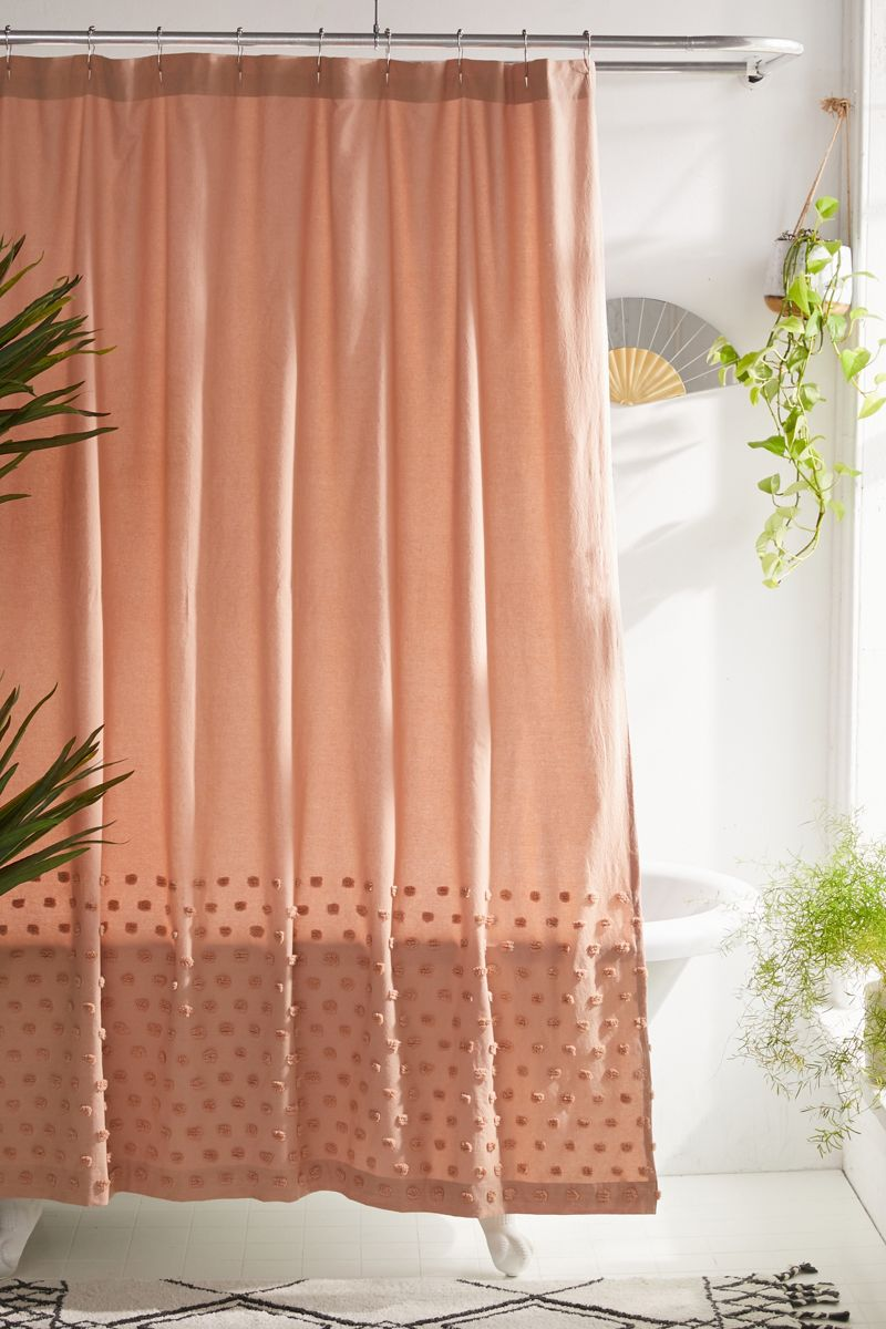 Textured shower curtain in deep rose
