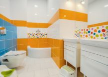 Tile-sections-in-orange-and-blue-for-the-contemporary-bathroom-in-white-217x155