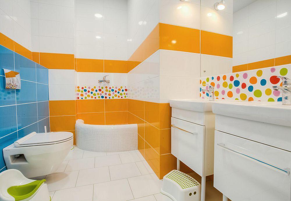 Tile sections in orange and blue for the contemporary bathroom in white