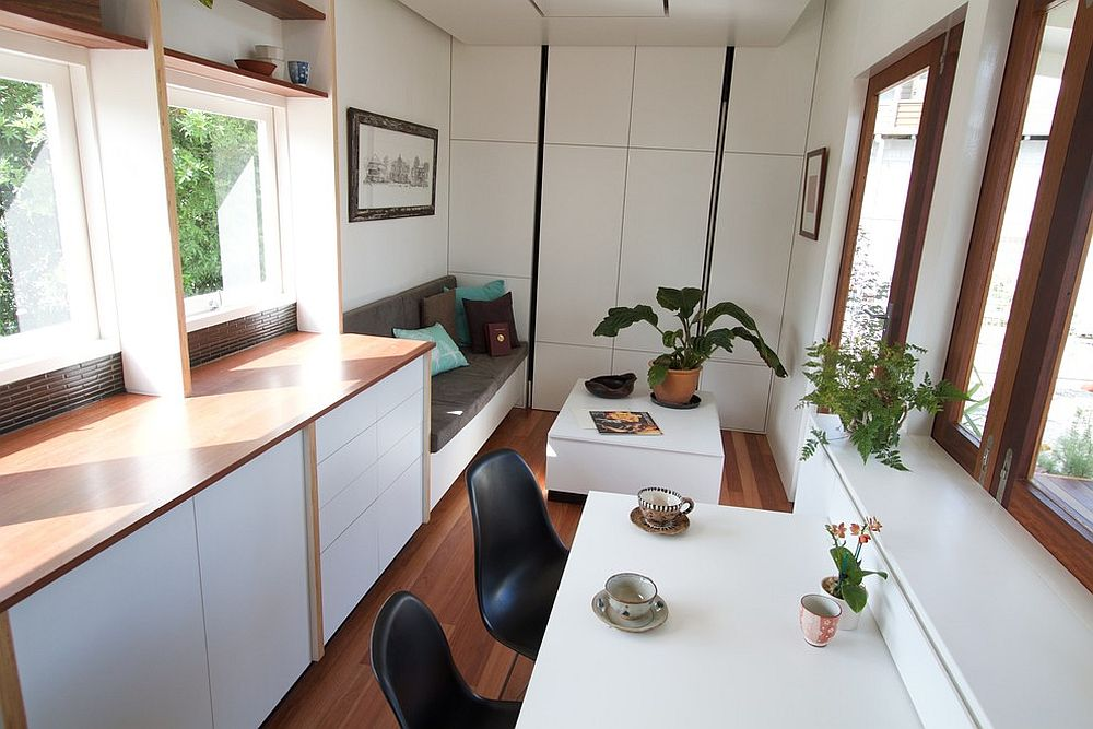 Tiny home on wheels has just enough space for two