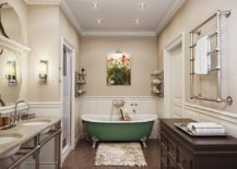 Traditional-bathroom-in-neutral-hues-with-a-bathtub-in-green-that-adds-color-and-contrast-217x155