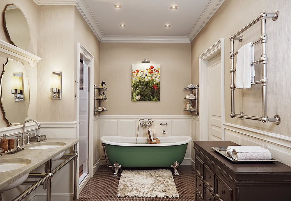 Traditional bathroom in neutral hues with a bathtub in green that adds color and contrast
