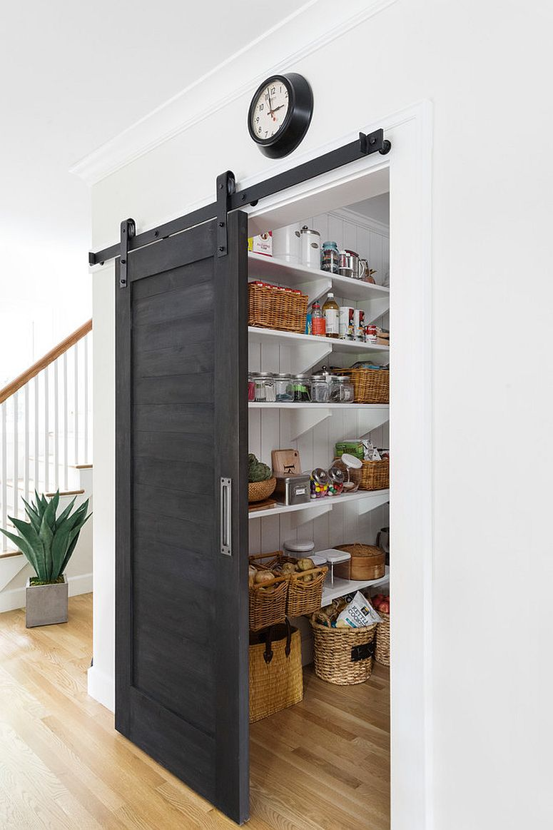 Traditional kitchen with a pantry door that compliments it elegantly