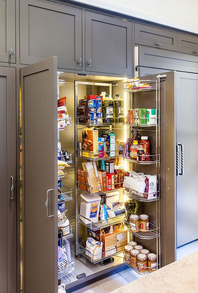 gray kitchen pantry filled entirely with metal racking