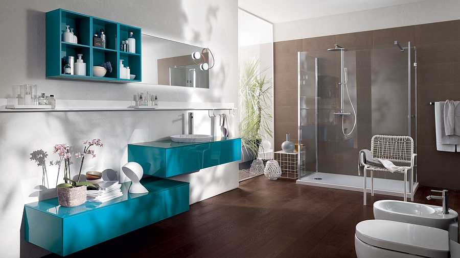 Turquoise floating vanity and shelves for the spacious contemporary bathroom