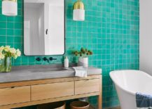 Turquoise-tiled-accent-wall-for-the-modern-bathroom-in-white-217x155