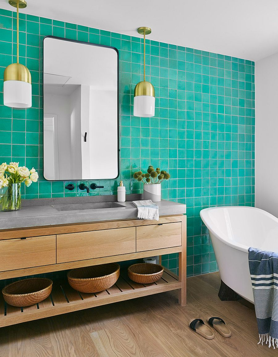 Turquoise tiled accent wall for the modern bathroom in white