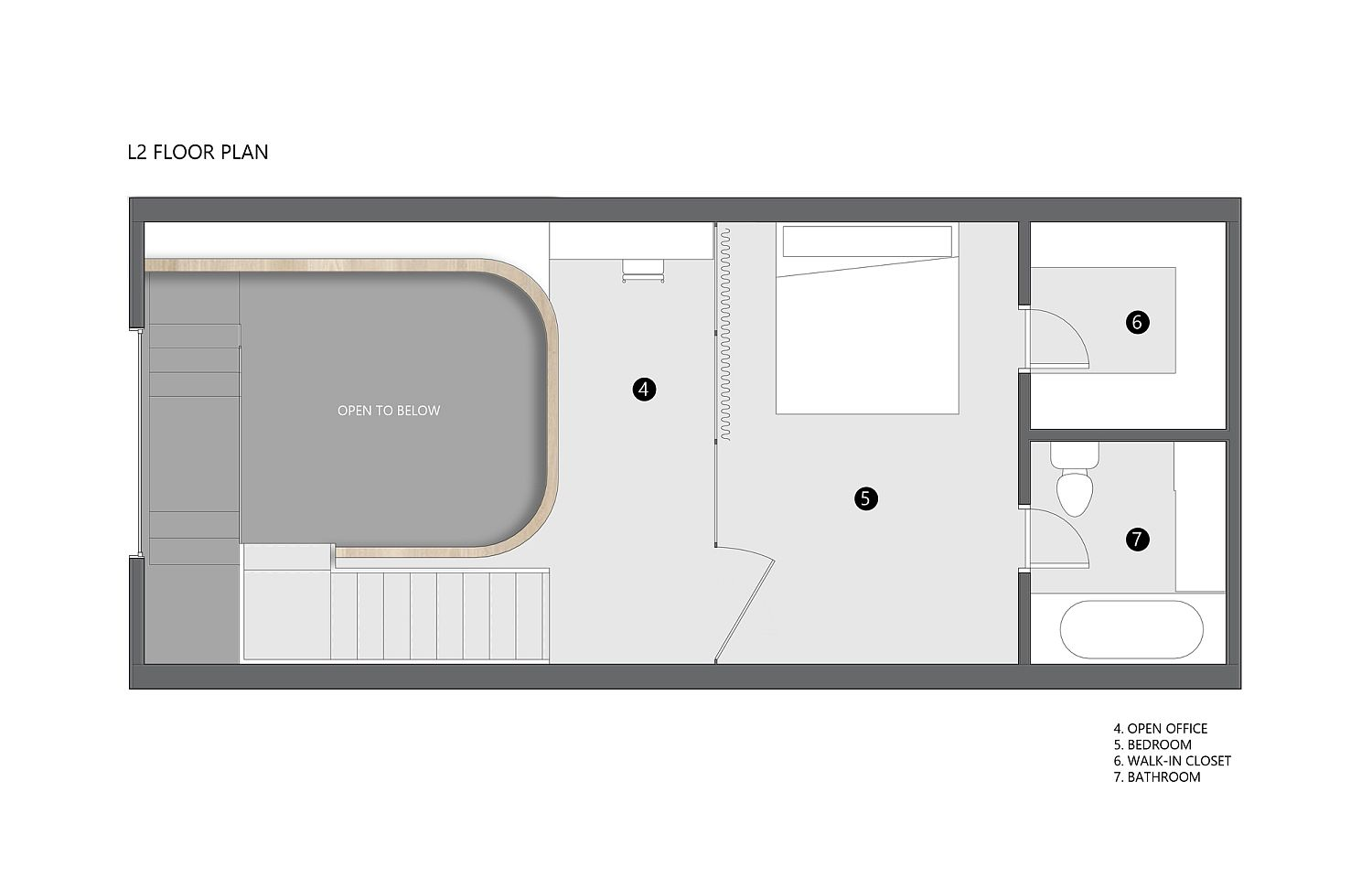 Upper level floor plan of the Pape Loft with bedroom and home office