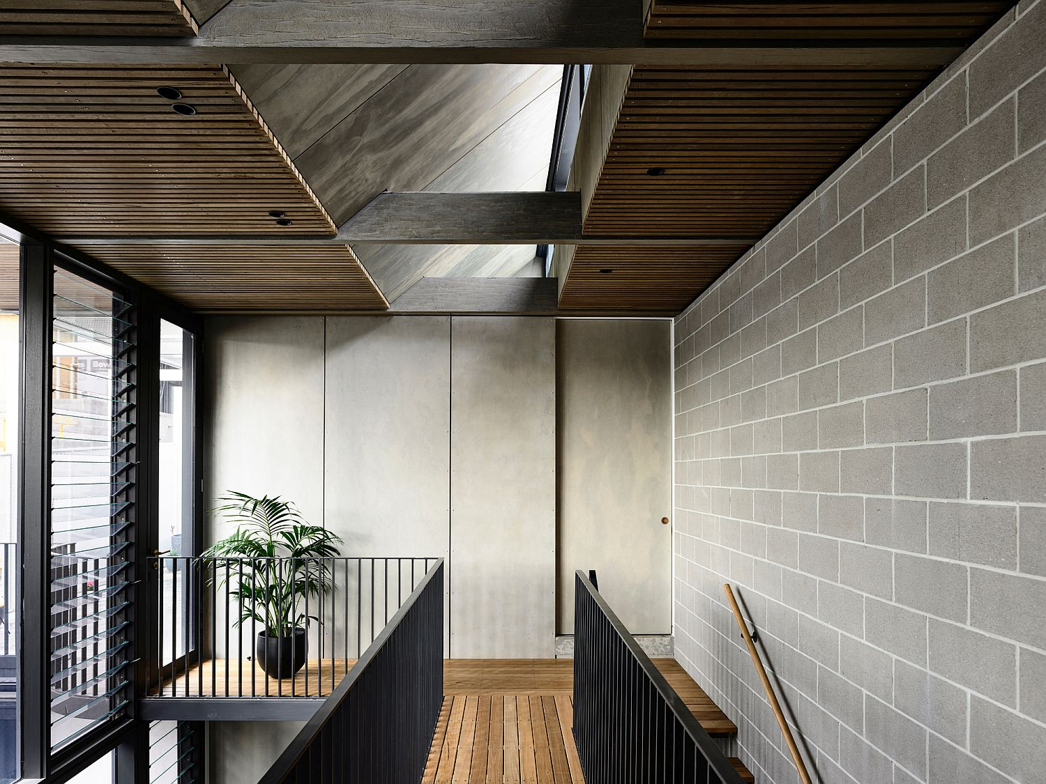 Upper level of the renovated Melbourne home with skylight