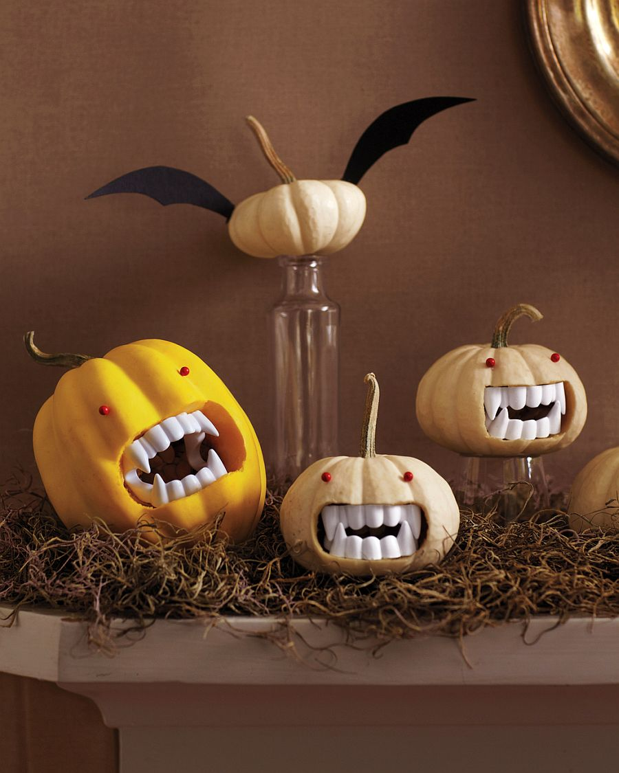 Vampire pumpkin centerpieces from Martha Stewart make a big visual impact