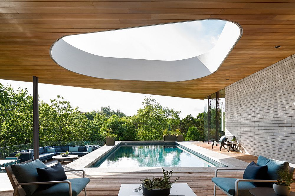 Visually stunning covering for the deck and pool