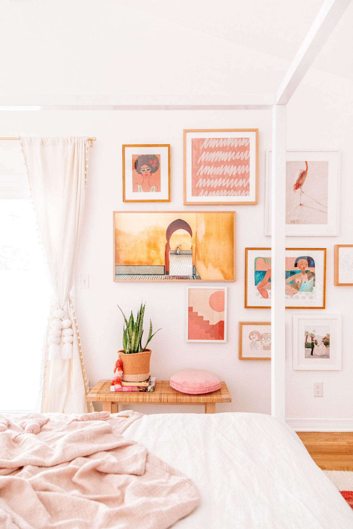 Wall art gallery with warm tones