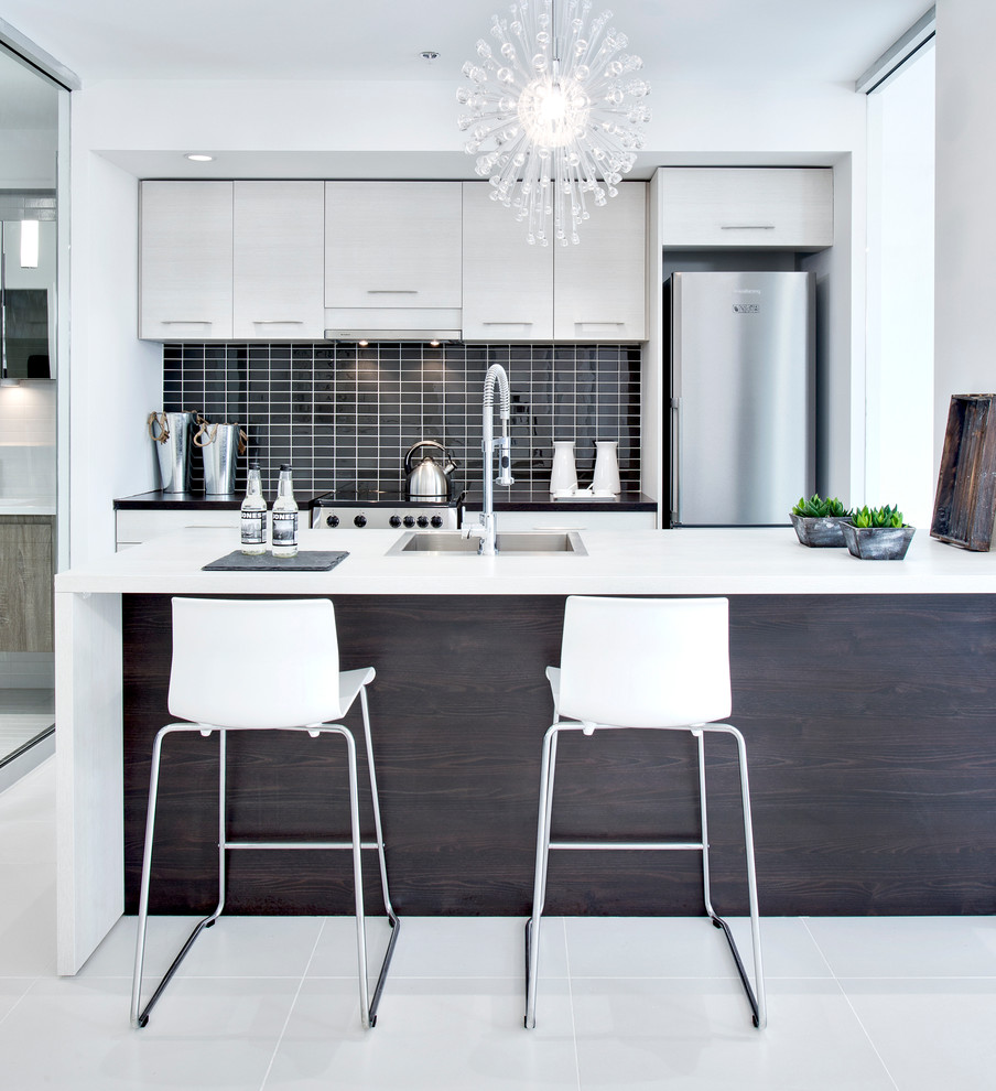White-and-black-kitchen-with-wood-for-the-central-island