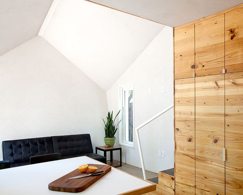White and wood interior of the Austi home with ample storage