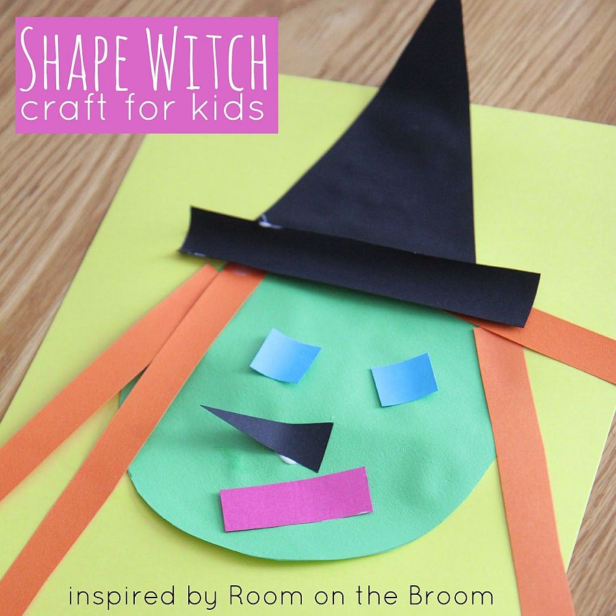 Witch shaped paper craft decorations that your kids can make easily