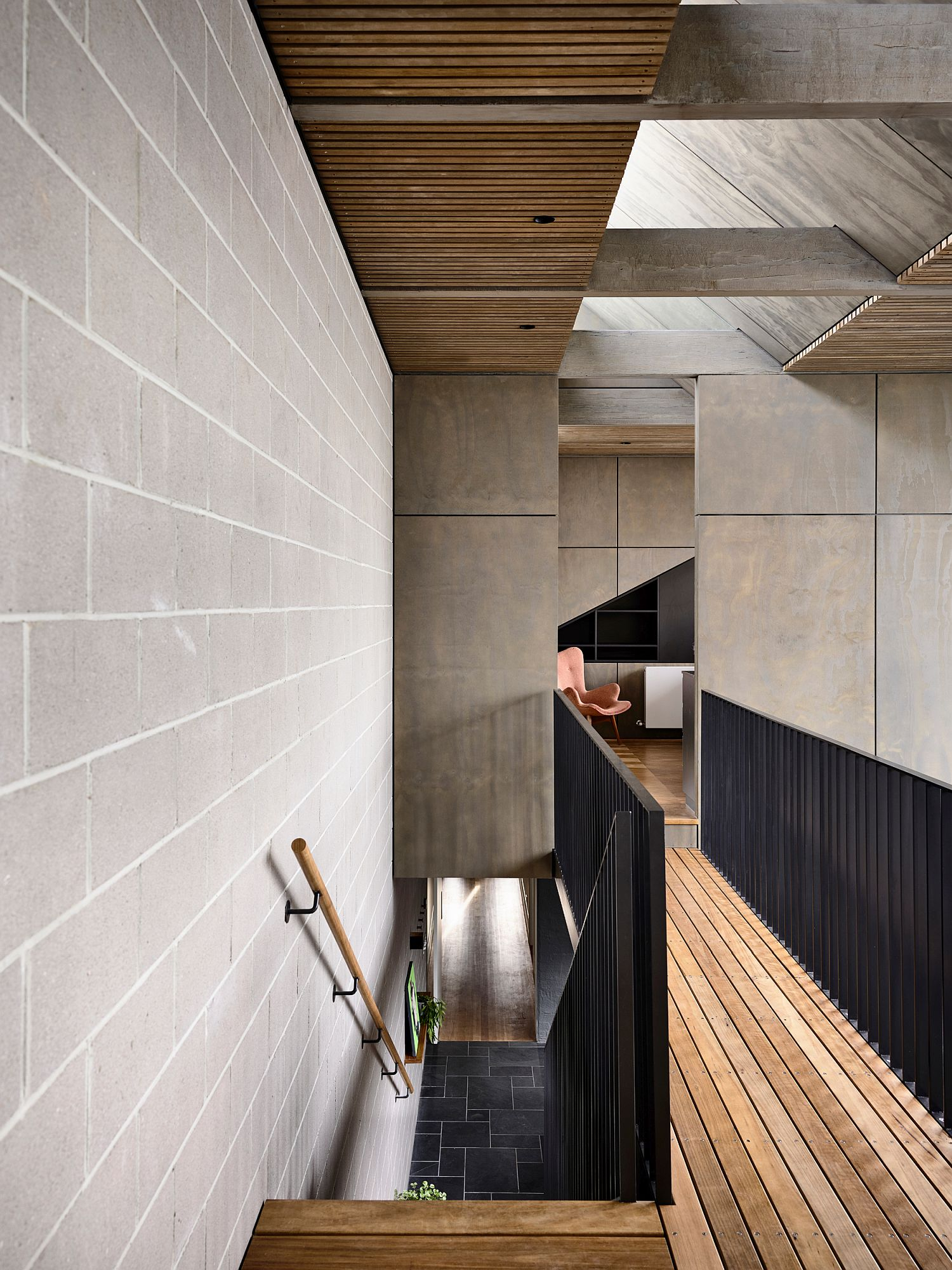 Wood, metal and cement interior of the Melbourne home