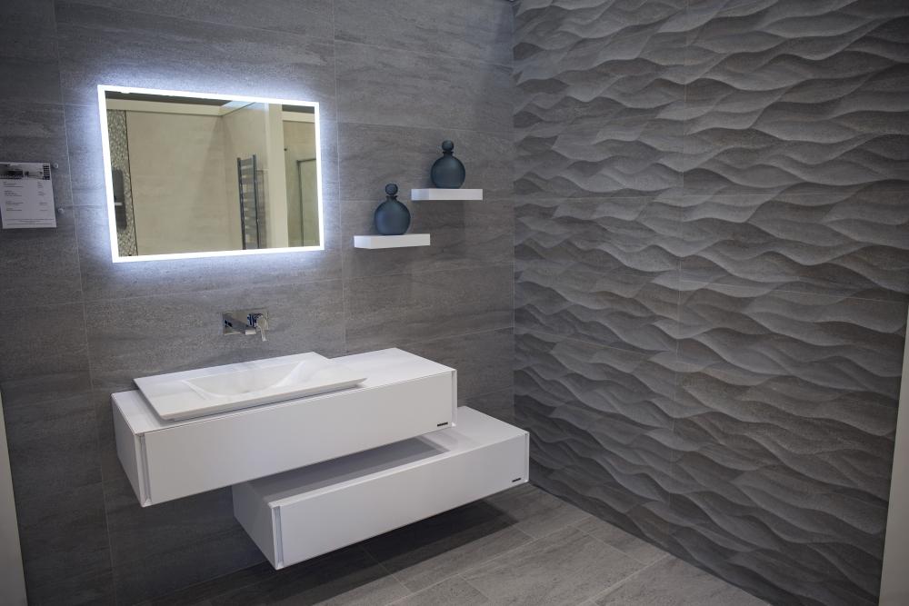 3D wave tiles for modern bathroom