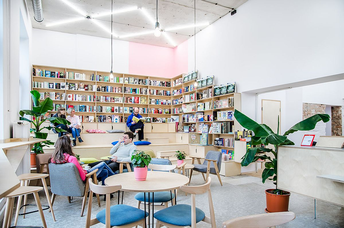 This Trendy Coffee House And Bookstore In Poznan Was An Old Milk Bar!  .  Architecture News