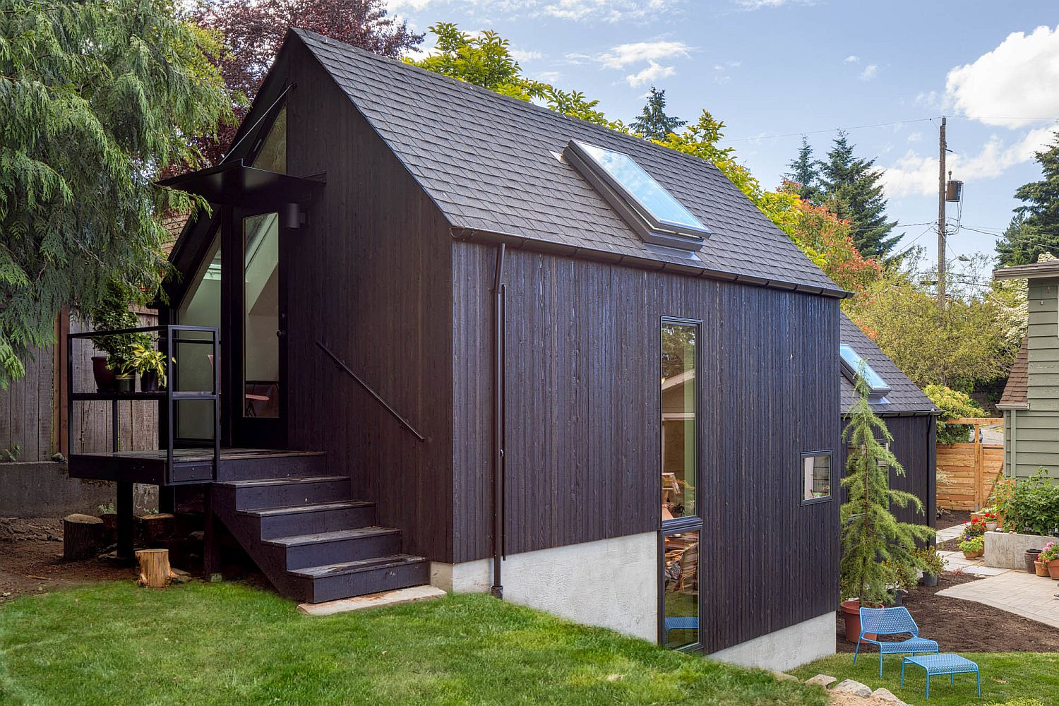 Backyard tiny home designed for aging member of the family