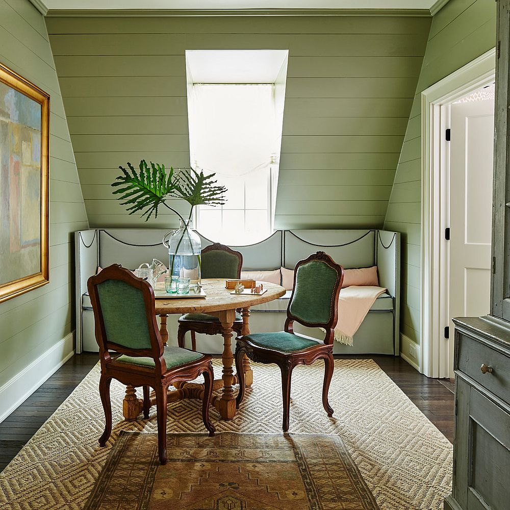 Beach style coupled with pastel shade of green in the dining room