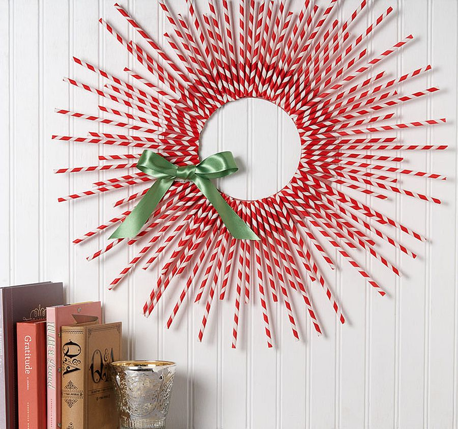 Beautiful DIY straw wreath in red and white is super easy to craft