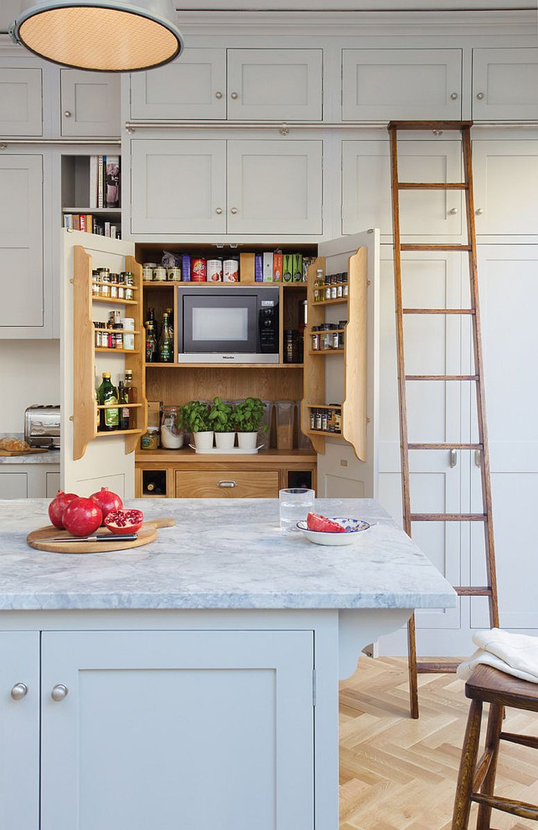 Bespoke traditional kitchen with a smart pantry in the backdrop