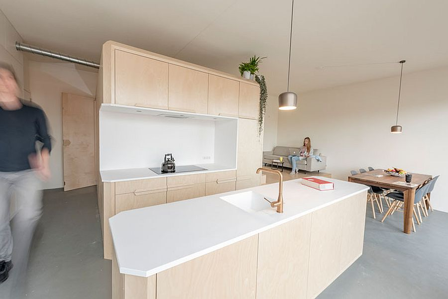 Birch wood and white Corian kitchen for the modern home