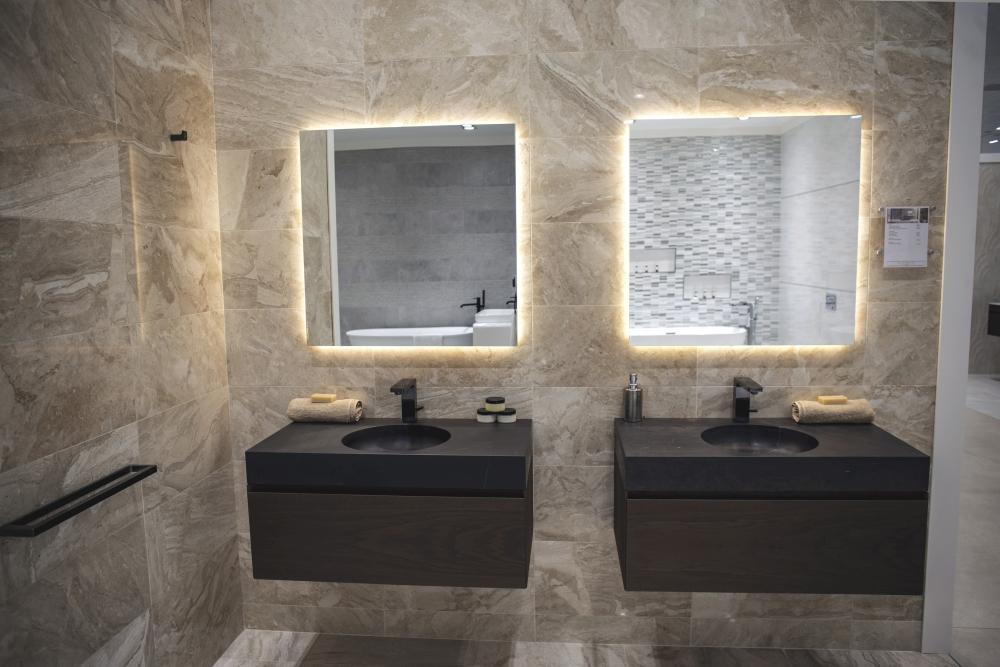 Black stone bathroom vanities